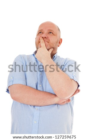 Charismatic middle aged man deliberates a decision. All on white background.