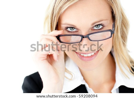 Charismatic young businesswoman smiling at the camera wearing glasses against white background