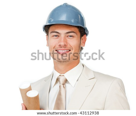 Charismatic young male architect against a white background