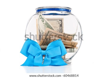 Charity Donation Bowl with Blue Ribbon - stock photo