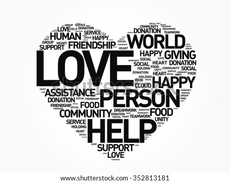 Charity, Donation, Love heart word cloud concept