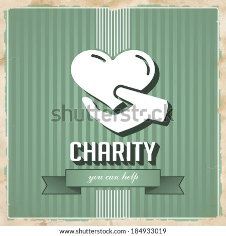 Charity with Icon of Heart in Hand on Green Striped Background. Vintage Concept in Flat Design. - stock photo