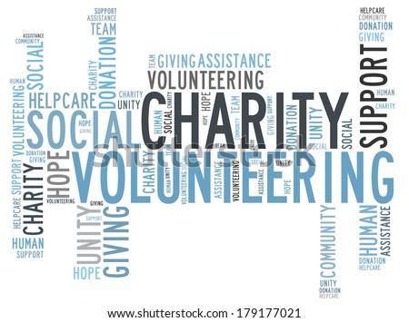 Charity word cloud - stock photo