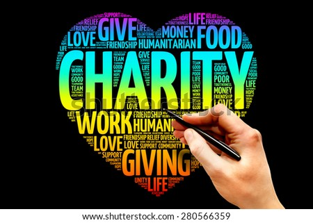 Charity word cloud heart concept - stock photo