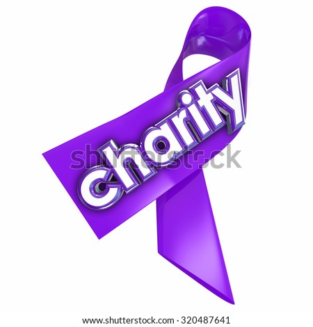 Charity word on a 3d purple ribbon to illustrate a fundraiser or awareness campaign for a non-profit or other worthy cause - stock photo