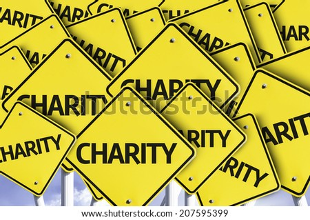 Charity written on multiple road sign - stock photo