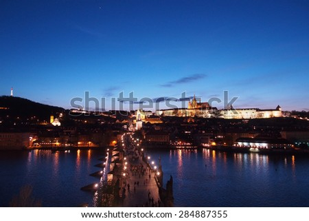Charle bridge and Prague castle at night