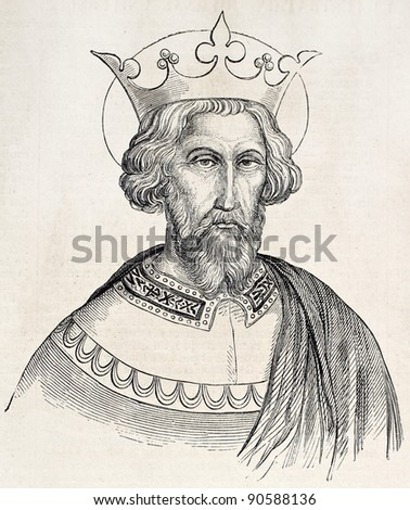Charlemagne old engraved portrait. Created by Gagniet after painting kept in Vatican, published on L'Illustration, Journal Universel, Paris, 1858 - stock photo