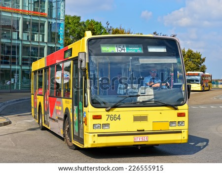 CHARLEROI, BELGIUM-OCTOBER 03, 2014: Bus leaving the station near Palais des Beaux-Arts in center of the city. The bus operating company TEC is a public service founded in 1991