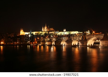 Charles Bridge and Castle of Prague by night