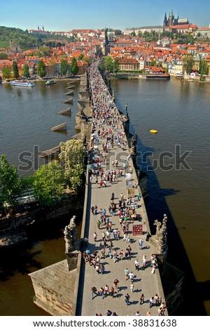 Charles bridge and Prague castle - stock photo