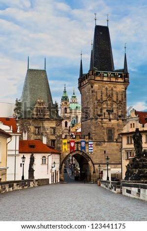 Charles Bridge and Prague Castle in the morning - stock photo