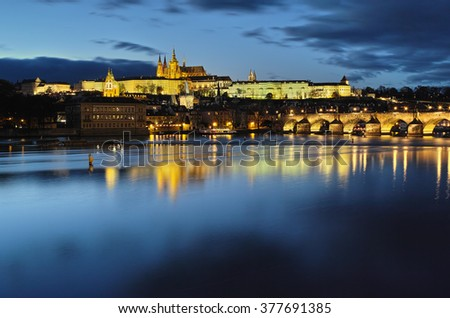 Charles Bridge and st. Vitus Cathedral at night. Prague, Czech Republic