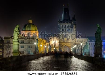 Charles bridge and Tower at night, Prague, Czech Republic - stock photo