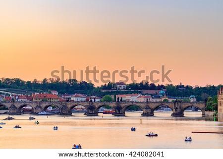 Charles Bridge at blue hour. Prague.Czech Republic - stock photo