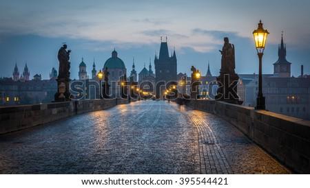 Charles Bridge at Dawn, Prague - stock photo