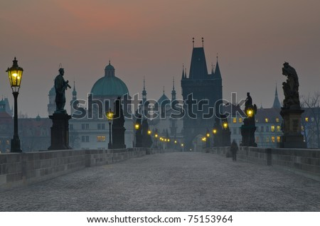Charles bridge at dusk, Czech republic, Prague - stock photo