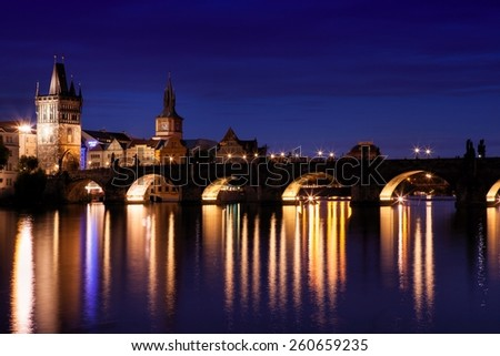 Charles Bridge at night in Prague, Czech Republic - stock photo