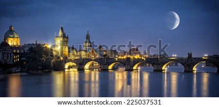 Charles Bridge at night, Prague, Czech Republic - stock photo
