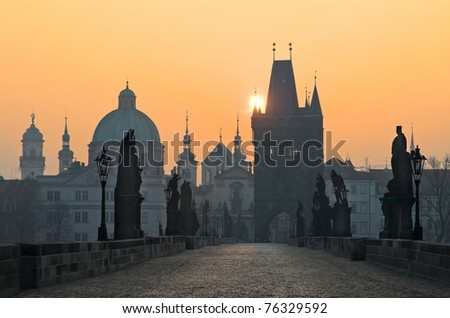Charles Bridge at sunset, Prague, Czech Republic
