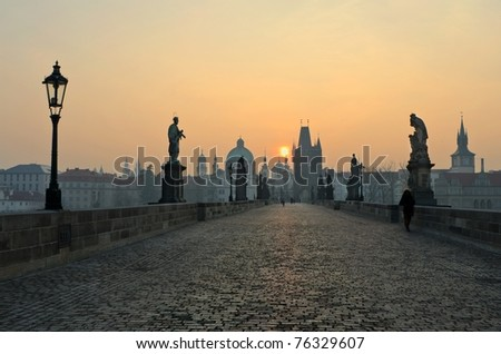 Charles Bridge at sunset, Prague, Czech Republic - stock photo