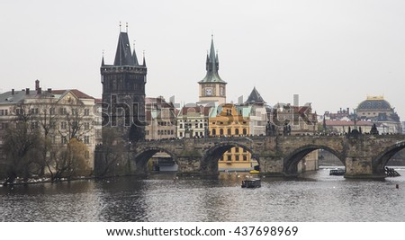 Charles Bridge (day) in Prague, Czech Republic   - stock photo