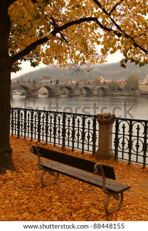 Charles Bridge in autumn  melancholy with autumn tree and fog, Prague, Czech Republic - stock photo