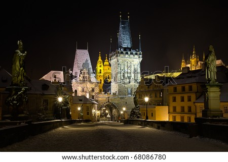 Charles Bridge in Prague, Czech - stock photo