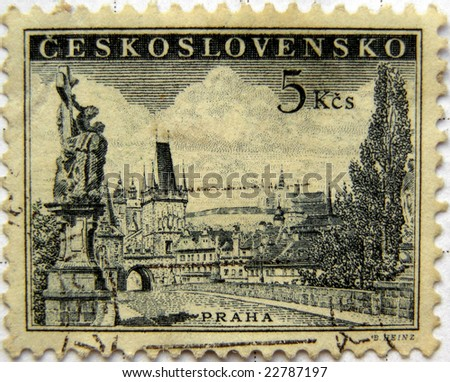 Charles bridge in Prague - Czech Republic mail postage stamps