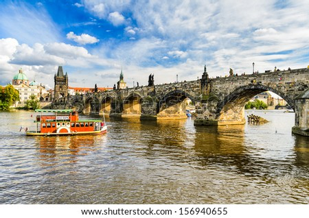 Charles Bridge in Prague, Czech Republic on a sunny day - stock photo