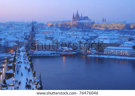 Charles bridge in Prague in the evening - stock photo