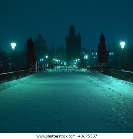 Charles bridge in winter, Prague, Czech Republic - stock photo