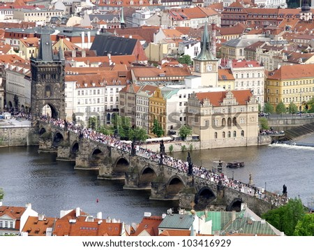 Charles bridge of Prague from above