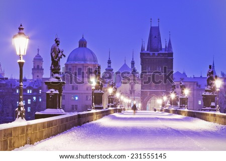 Charles bridge, Old Town bridge tower, Prague (UNESCO), Czech republic, Europe - stock photo