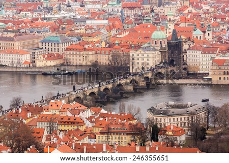 Charles Bridge on Prague landscape panoram - stock photo