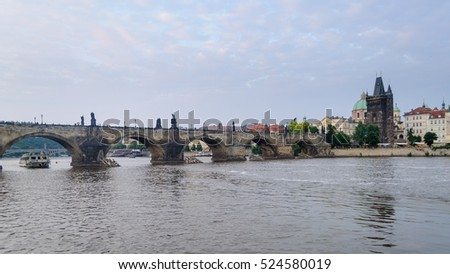 Charles Bridge over Moldava river in Prague