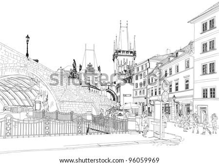 Charles Bridge - Prague, Czech Republic. Bitmap copy my vector - stock photo