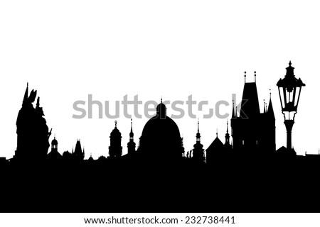 Charles bridge silhouette isolated on white, Prague, Czech Republic