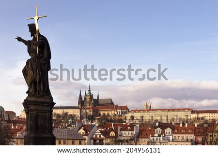 Charles Bridge Statue, St Vitus Cathedral and Castle Quarter, Prague - stock photo