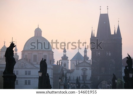 Charles bridge statues with New Town towers