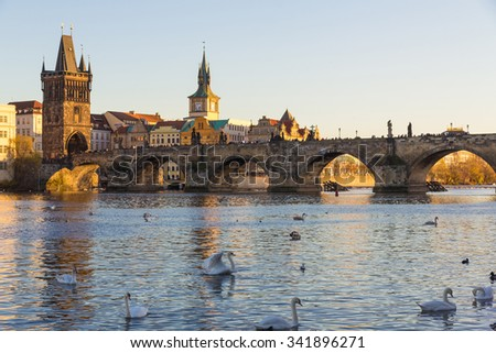 Charles Bridge with late afternoon sun, Prague, Czech Republic