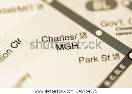 Charles/MGH Station. Boston Metro map.