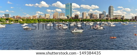 Charles River and Boston skyline from Cambridge on a 4th of July, MA, USA - stock photo