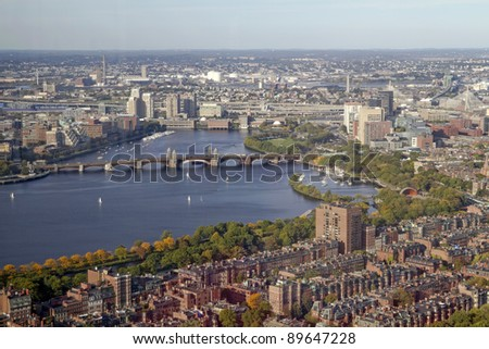 Charles River and the Longfellow Bridge -- Boston, Massachusetts, USA - stock photo