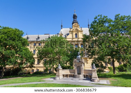 Charles Square New Town area of Prague Czech Republic with bust of Vitezslav Halek a poet and writer.