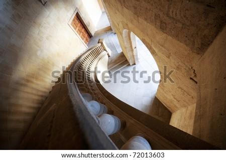 Charles V palace stairs - stock photo