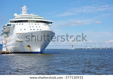 CHARLESTON, SC -31 OCTOBER 2015- Cruise ship in the port of Charleston, South Carolina. Cruise ships use the Union Pier Terminal managed by the South Carolina Port Authority.