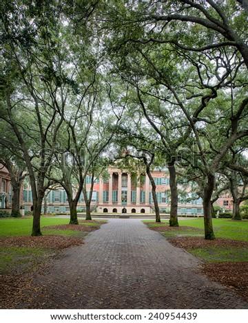 CHARLESTON, SOUTH CAROLINA - DECEMBER 8: Randolph Hall on the campus of the College of Charleston on December 8, 2014 in Charleston, South Carolina - stock photo