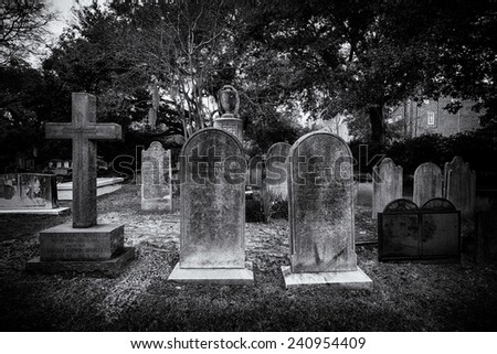 CHARLESTON, SOUTH CAROLINA - DECEMBER 8: West Cemetery of the St. Philip's Episcopal Church on December 8, 2014 in Charleston, South Carolina - stock photo