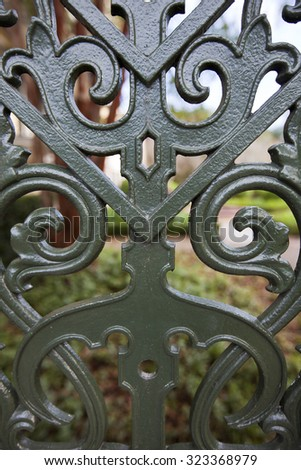 Charleston, South Carolina is famous for their intricate wrought iron fences and gates - stock photo